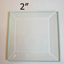(Box of 30) 2 x 2 inch Square Clear Glass Bevel ~ Flat on Back Beveled on Top