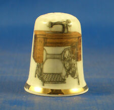 Birchcroft China Thimble -- Singer Treadle Sewing Machine -- Free Dome Gift Box