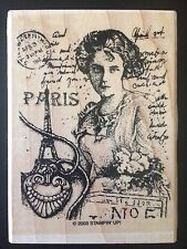 Stampin' Up Rubber Stamp Vintage Paris Lady Postcard Stamps Eiffel Tower Letter