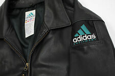 Mens Vintage VTG ADIDAS Equipment EQT Leather embroidered jacket sz XL fits XXL