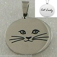 "Cat Lady Necklace Stainless Steel Pendant Silver Kitty 18"" Chain included"