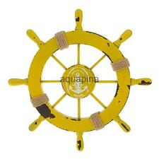 Nautical Marine Decor Wooden Pirate Ship Helm Wheel Home Decoration Yellow