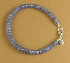 Sapphire bracelet. Light blue. Flower charm. Sterling silver 925. Handmade.