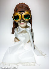 Aviator Costume Kit Aviator Helmet White Scarf & Goggles Steampunk Accessory