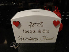 Personalised Wedding Fund Money Box - engraved with couple name and doves, heart