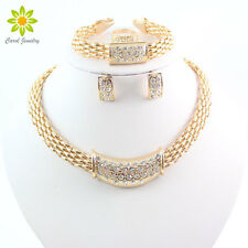 African 18K Yellow Gold Plated Necklace Set Party Rhinestone Bridal Jewelry Sets
