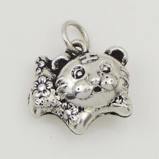 S925 Sterling Silver Chinese Zodiac 14x12mm Year Of Tiger Bracelet Pendant