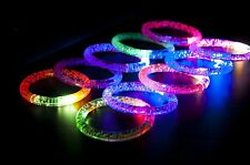 12 X Light-Up Acrylic Bracelet Wristband LED Flashing Glow Blinking Rave Wear