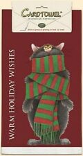 Kitchen Towel Warm Holiday Wishes Christmas Cat  100% Cotton Silkscreened