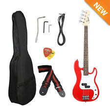 NEW Red Electric Bass Guitar Including Strap, Guitar Case, Amp Cord and More