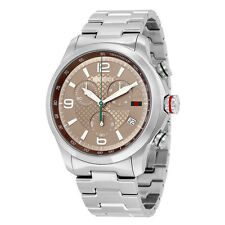 Gucci G-Timeless Chronograph Brown Dial Stainless Steel Mens Watch YA126248