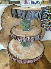 "Three Tiered Rustic Wooden Wedding cake/ Cup Cake stand, centre piece, 15"" Base"