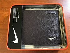 NIKE GOLF MEN'S BROWN TEXTURED LEATHER PASSCASE BILLFOLD WALLET NEW IN GIFT BOX