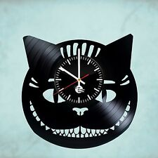 Alice in Wonderland Cheshire Cat HANDMADE vinyl record wall clock kid art decor