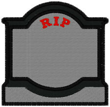 REFLECTIVE CUSTOM EMBROIDERED  BIKER TOMBSTONE  MEMORY  PATCH