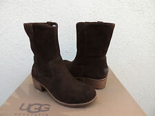 UGG RIONI CHOCOLATE SUEDE/ SHEEPSKIN ANKLE BOOTS, US 7/ EUR 38 ~NEW