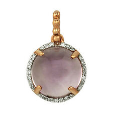 NATURAL 14K ROSE GOLD DIAMOND ROUND PINK AMETHYST HALO PENDANT NECKLACE