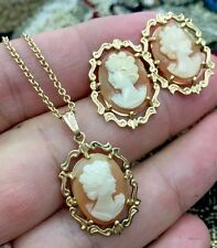 VINTAGE  CAMEO 14KT YELLOW GOLD BROOCH AND PENDANT Necklace  EARRINGS SET