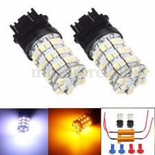 2x 3157 White Amber Dual Color Switchback Turn Signal Light LED Bulb + Resistors