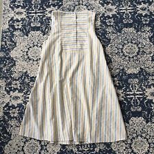 S New ANTHROPOLOGIE Women's Yellow Grey Stripe Pocket Button Back Dress SMALL