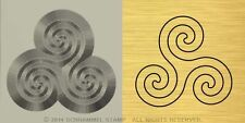 #R17 PAGANISM Religion TRISKELION HAND STAMP Gold/Metal/Steel Celtic Neopaganism