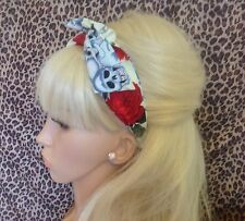 IVORY SKULL RED ROSE PRINT BENDY WIRE/WIRED FABRIC HAIR HEAD BAND ROCKABILLY