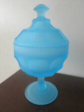 VINTAGE FENTON? BLUE SATIN GLASS COVERED CANDY / COMPOTE DISH