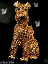 SIGNED CRYSTAL SWAROVSKI AIREDALE DOG PIN~ BROOCH 22KT GOLD PLATED RETIRED NEW