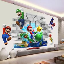 Super Mario Cracked Wall Mural Vinyl Wall Decals Sticker Kids Nursery Room Decor