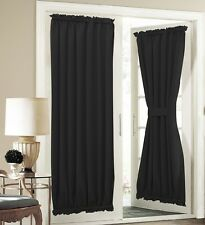 NEW ROD POCKET FRENCH DOOR WINDOW PANEL FOAM BACKING BLACKOUT PURE BLACK DAYDI