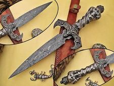 SD CUTLERY HAND MADE DAMASCUS Skull Dragon Damascus Dagger Knife