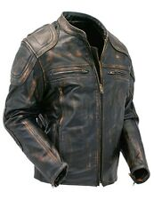 Mens Cafe Racer Quilted Distressed Brown Vintage Motorcycle Biker Leather Jacket