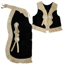Suede Leather Children's Chaps & Vest Set Great Halloween Cowboy Costume! NEW!!