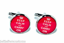 KEEP CALM AND CARRY ON CUFFLINKS Unique & Retro Father's Day/Birthday Gift & Bag