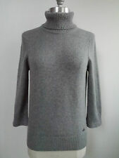 CHANEL 08A gray 100% cashmere embroidered handbag detail sweater size 38 WORN 1x