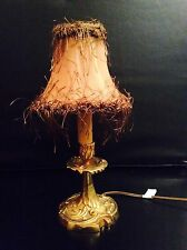 Vintage french bronze boudoir candle lamp  #2 with Vintage Shade Baroque Rococo