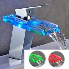 Modern Brass LED Color Glass Faucet Bathroom Sink Water Mixer Taps Bath  Faucets
