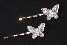 SET OF 2 FUN GLITTERY SILVER TONE BUTTERFLY 5 CM HAIR PINS STYLISH GIFT (ZX20)