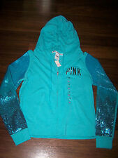 VICTORIA SECRET PINK SEQUIN ZIP HOODED SWEAT SHIRT, TEAL size LARGE NWT