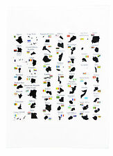 Countries of Africa with borders, flags and capitals - Large Cotton Tea Towel