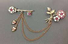 Vintage Signed CORO Flower White Enamel Pink Rhinestone Scatter Sweater Pin