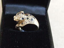 14K Yellow Gold Panther Diamonds Sapphire Emeralds Leopard Cheetah Big Cat Ring