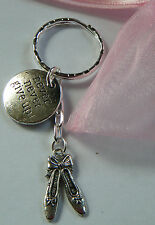 Ballet Dancer Shoes Ballerina Dancer Never Never Give Up Keyring Bag Charm Gift