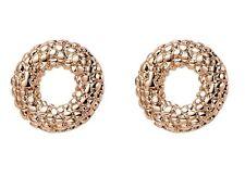 Rose Gold Pebble Embossed Circle Stud Earrings