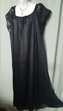 VENTURA  BLACK TRICOT ANKLE LENGTH  NIGHTGOWN W/LACE  SHORT SLEEVE WOMEN SIZE 4X