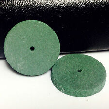 100 Pcs Dental semi-precious metals workpiece Rubber polish Wheel shape Green UK