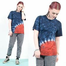 WOMENS VINTAGE 90'S BLUE RED TIE DYE GRUNGE STYLE FESTIVAL T-SHIRT TOP 8 10