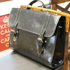 New Men's Leather messenger shoulder bag vintage briefcase laptop bags Black
