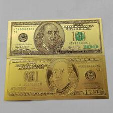 1pcs 1:1 $100 dollar 24k Gold Foil Golden USD Paper Money Banknotes Crafts