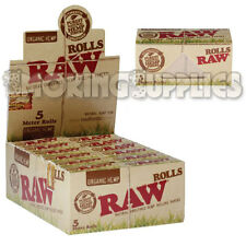 24 Raw Organic 5m Rolls Natural Rolling Papers Full Box New & Sealed Rips